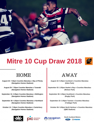 f3dbbcdf3d1 2018 Mitre 10 Cup Draw Announced Counties Manukau Rugby Football Union
