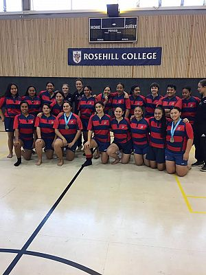 Black Ferns players visit Rosehill College girls First XV.